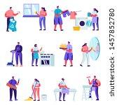 set of flat householders... | Shutterstock .eps vector #1457852780