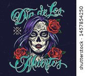 dia de los muertos colorful... | Shutterstock .eps vector #1457854250