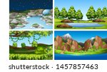 set of nature scenes day nd... | Shutterstock .eps vector #1457857463