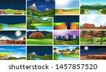 set of scenes in nature setting ... | Shutterstock .eps vector #1457857520
