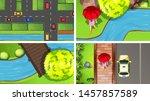 set of top view aerial scenes... | Shutterstock .eps vector #1457857589