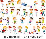 kids exercising and being... | Shutterstock .eps vector #1457857619