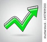 green arrow. bent hand drawn... | Shutterstock .eps vector #1457859203