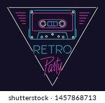 linear sign of tape cassette in ... | Shutterstock .eps vector #1457868713