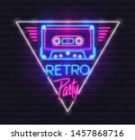 neon sign of tape cassette in... | Shutterstock .eps vector #1457868716