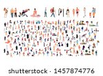 crowd of flat illustrated... | Shutterstock .eps vector #1457874776