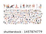 crowd of flat illustrated... | Shutterstock .eps vector #1457874779