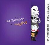 halloween night greeting card ... | Shutterstock .eps vector #1457881229