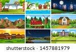 set of scenes in nature setting ... | Shutterstock .eps vector #1457881979