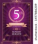 5th anniversary elegant golden... | Shutterstock .eps vector #1457886209