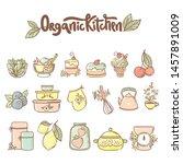 set of organic kitchen icon ... | Shutterstock .eps vector #1457891009