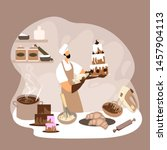 a man glazing a big cake with a ... | Shutterstock .eps vector #1457904113
