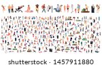 crowd of flat illustrated... | Shutterstock .eps vector #1457911880