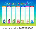 kids weekly planner with cute... | Shutterstock .eps vector #1457923346