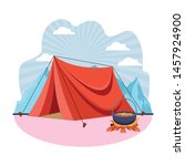 camping tent and soup cooking... | Shutterstock .eps vector #1457924900