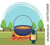 camping cooking soup on bonfire ... | Shutterstock .eps vector #1457924909