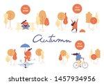 colorful autumn park flat... | Shutterstock .eps vector #1457934956