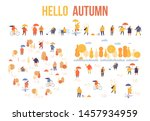 colorful autumn park flat... | Shutterstock .eps vector #1457934959