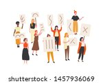 crowd of protesting women... | Shutterstock .eps vector #1457936069