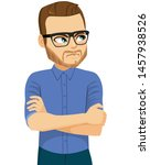very angry man with glasses and ... | Shutterstock .eps vector #1457938526