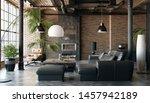 Living Room Loft In Industrial...