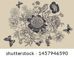 floral card. black print on... | Shutterstock .eps vector #1457946590