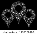 glowing mesh map locations with ... | Shutterstock .eps vector #1457950100