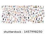 crowd of flat illustrated... | Shutterstock .eps vector #1457998250