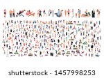 crowd of flat illustrated... | Shutterstock .eps vector #1457998253