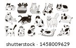 collection of cute funny cats... | Shutterstock .eps vector #1458009629