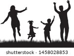 vector silhouette of family.... | Shutterstock .eps vector #1458028853