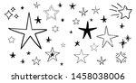 set of hand drawn stars. doodle ...   Shutterstock .eps vector #1458038006
