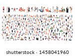 crowd of flat illustrated... | Shutterstock .eps vector #1458041960