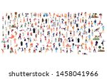 crowd of flat illustrated... | Shutterstock .eps vector #1458041966