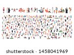 crowd of flat illustrated... | Shutterstock .eps vector #1458041969