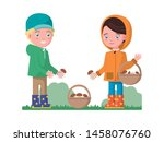 boy and a girl in autumn... | Shutterstock .eps vector #1458076760