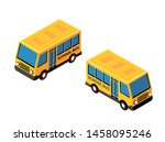 isometric school bus urban... | Shutterstock .eps vector #1458095246