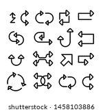 set of black line arrow icons | Shutterstock .eps vector #1458103886
