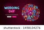 wedding day neon banner design. ... | Shutterstock .eps vector #1458134276