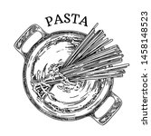pan with pasta. cooking... | Shutterstock .eps vector #1458148523