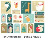 christmas holiday set with hand ... | Shutterstock .eps vector #1458178319