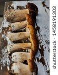 mushrooms on a wooden... | Shutterstock . vector #1458191303