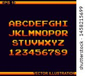 arcade game pixel alphabet font ...   Shutterstock .eps vector #1458215699