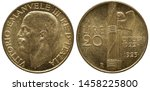 Italy Italian golden coin 20 twenty lire 1933, subject 1st Anniversary of Fascist Government, head of King Vittorio Emanuele III left, denomination left to fascine and hatchet, date at right,