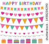colorful birthday party banners ... | Shutterstock .eps vector #1458234290