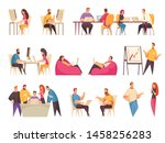 coworking people set with teams ... | Shutterstock .eps vector #1458256283