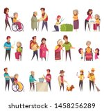 elderly people professional...   Shutterstock .eps vector #1458256289