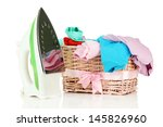 steam iron and wicker basket... | Shutterstock . vector #145826960