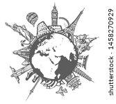 famous world landmarks located...   Shutterstock .eps vector #1458270929