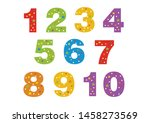 numbers for children  from 1 to ... | Shutterstock .eps vector #1458273569